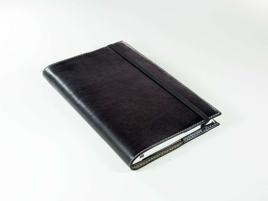 photo of black leather xl journal