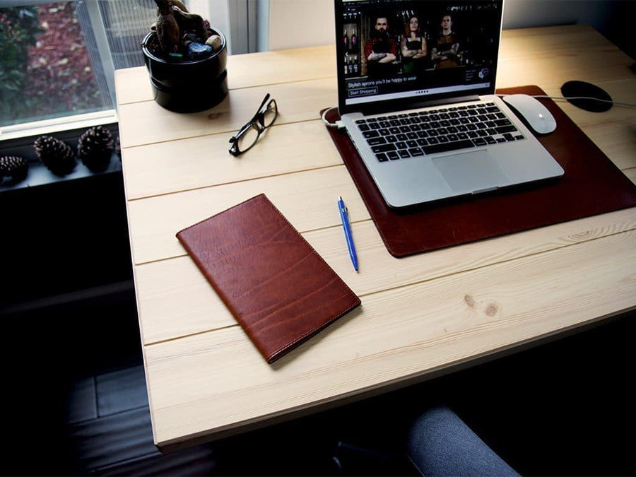 photo of chestnut horween leather journal large