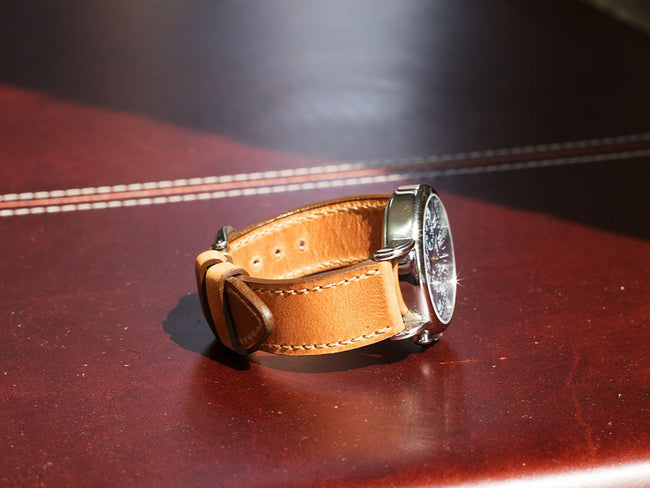 photo of horween dublin leather watch strap