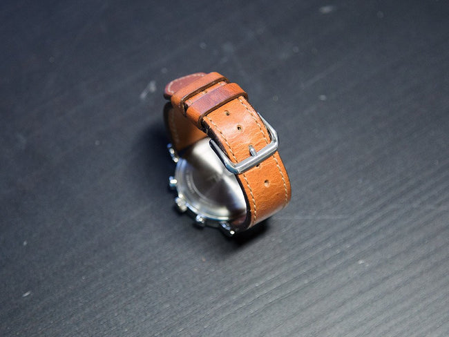 photo of natural leather watch band