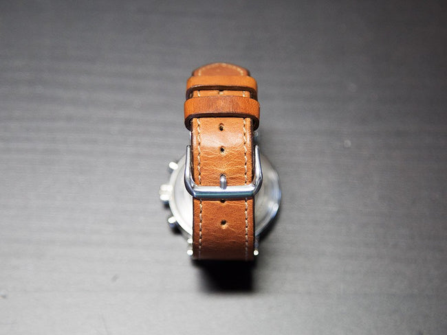 photo of horween leather watch band natural