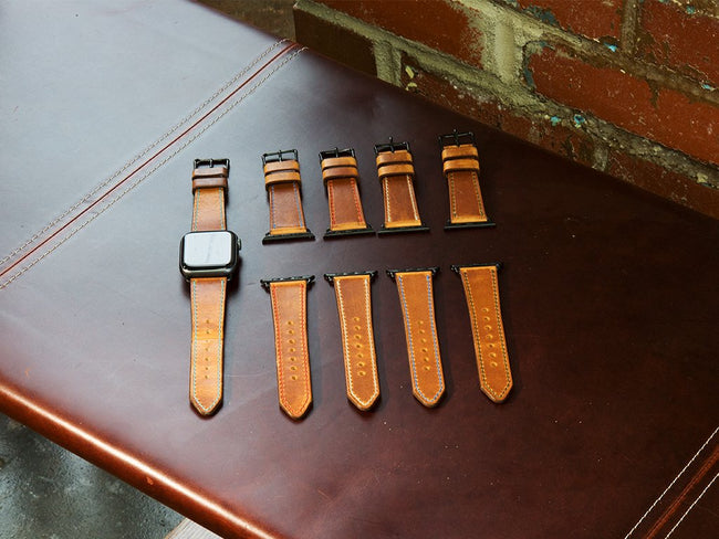 photo of handmade leather watch strap