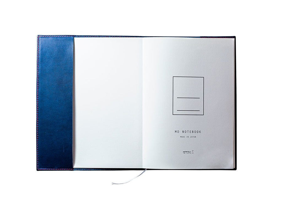 image of genuine leather midori notebook cover - blue