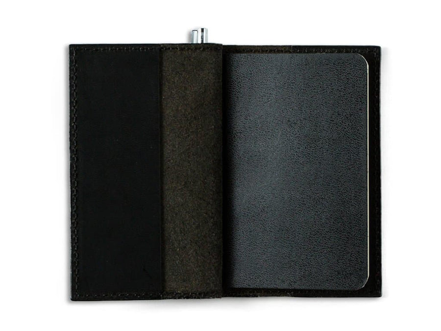 image of mini journal with pen in horween black leather