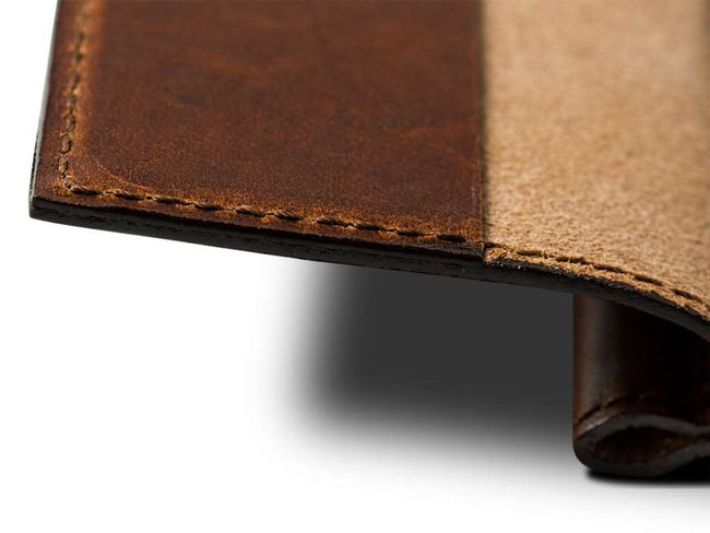 photo of chestnut mini notebook with pen in horween leather