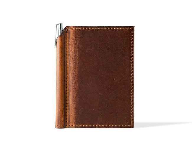 photo of horween mini leather journal with pen - chestnut