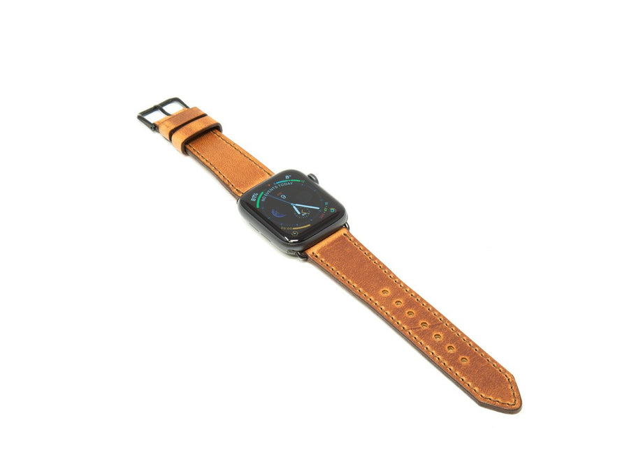 image of natural horween leather apple watch strap