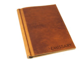 horween leather softcover menu holder natural