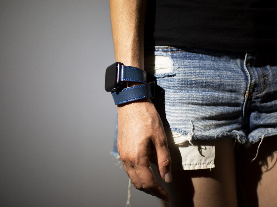 Italian Leather Double Wrap Apple Watch Band - Blue - olpr.