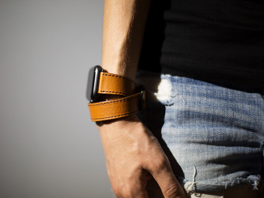 double tour italian brown leather iwatch band image