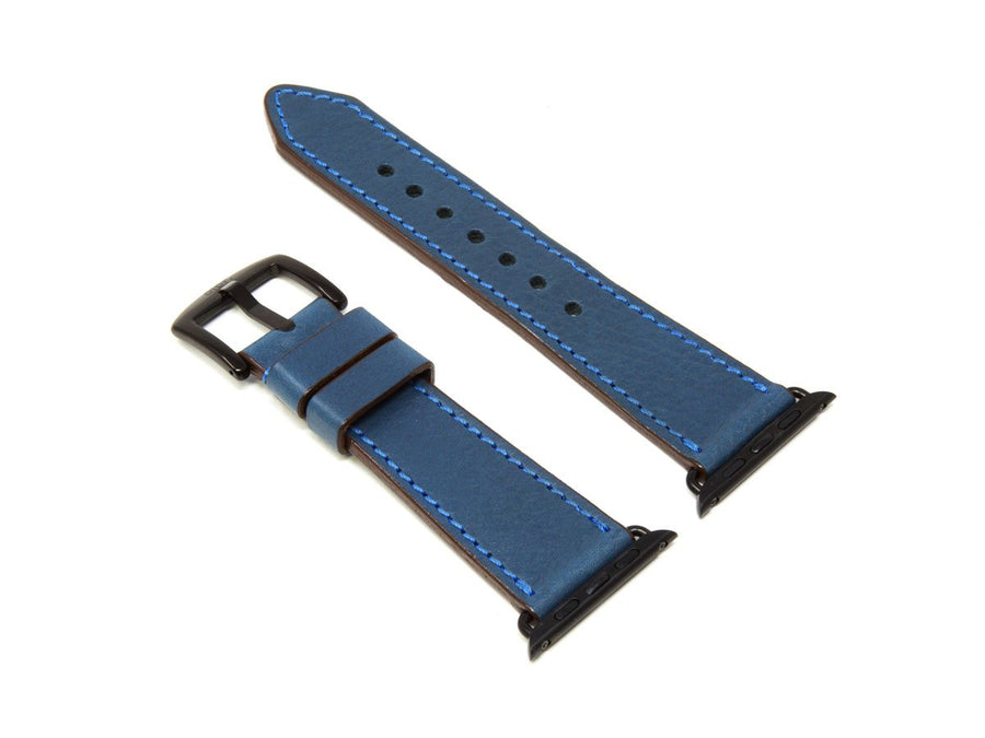 image of blue italian leather apple watch strap