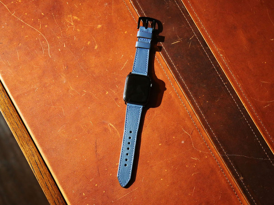 Italian Leather Apple Watch Band - Blue - olpr.