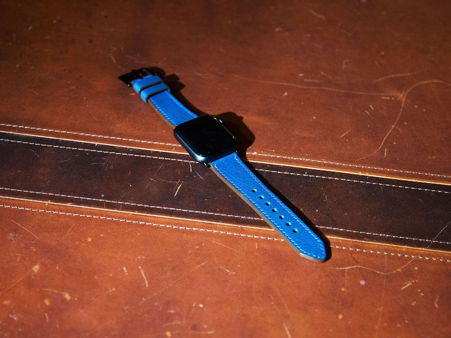 photo of blue italian leather iwatch strap