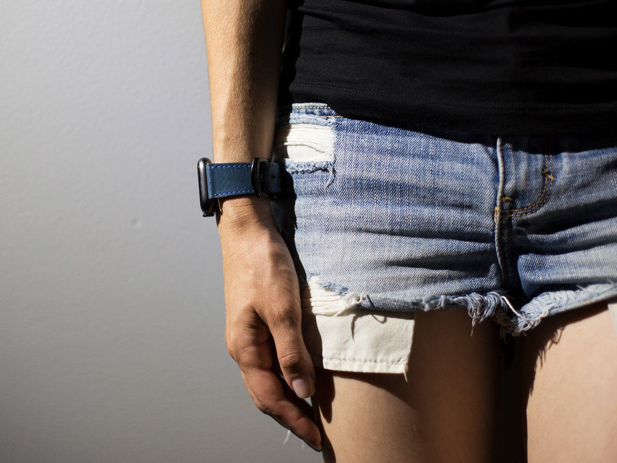 blue italian leather iwatch band image