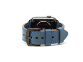 photo of italian leather apple watch band - blue
