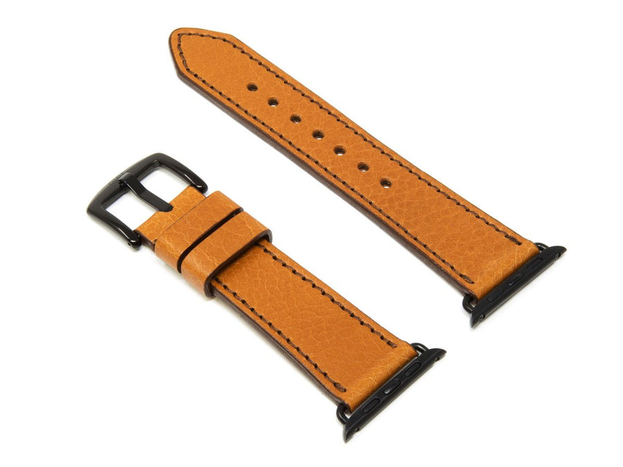 image of brown italian leather apple watch strap