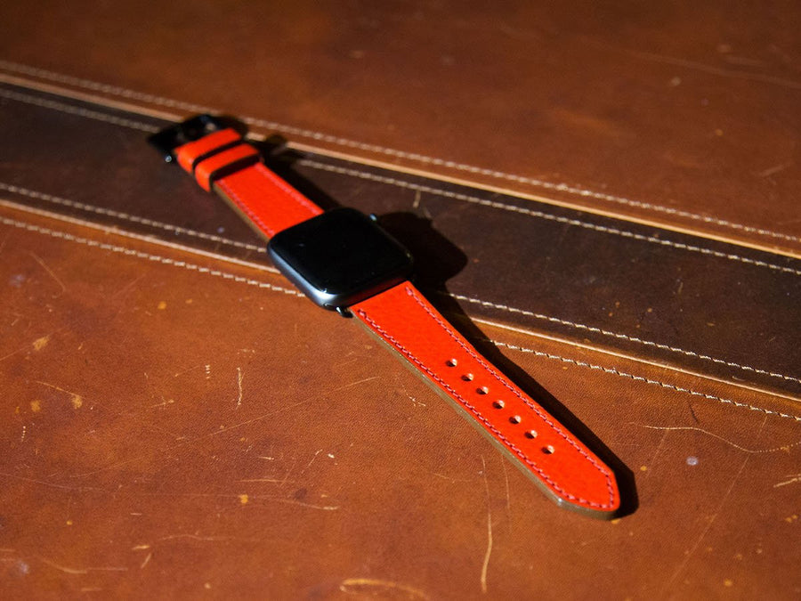 photo of red italian leather iwatch strap
