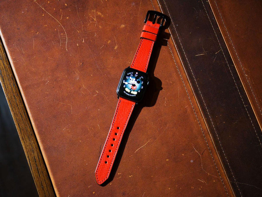 image of italian red apple watch band