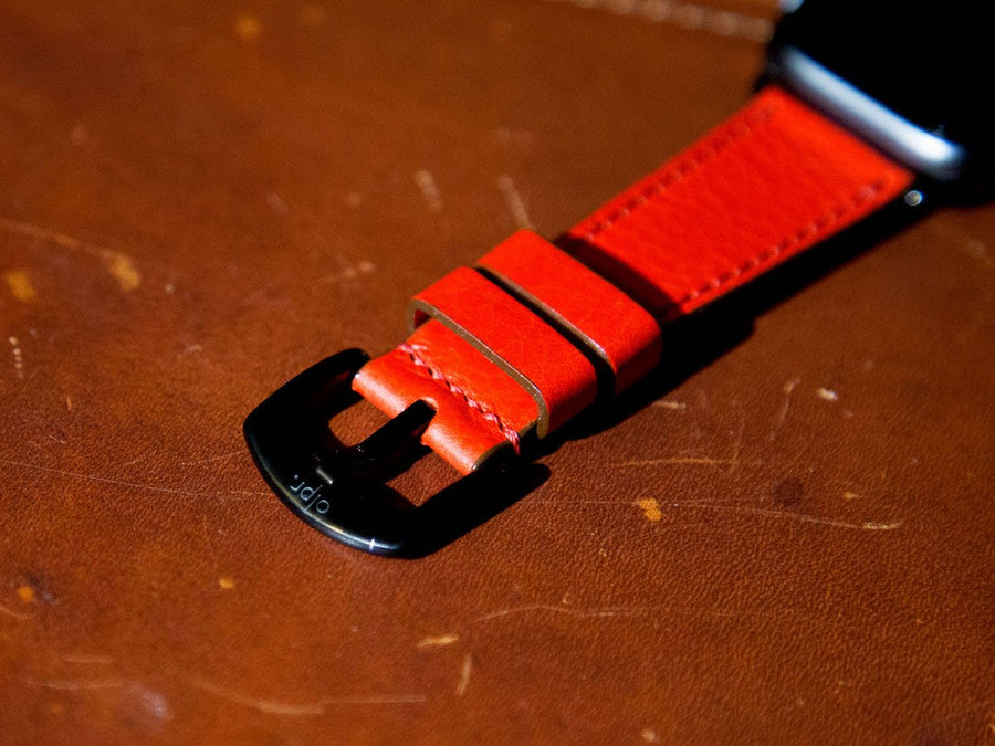 image of italian red apple watch leather strap