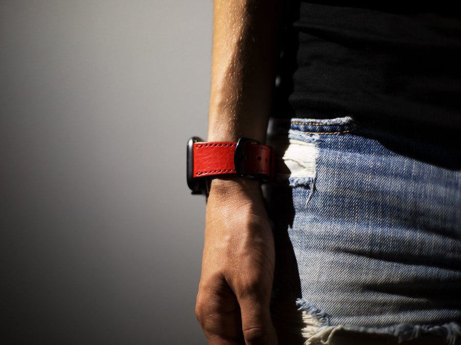 imafe of red apple watch strap in italian leather