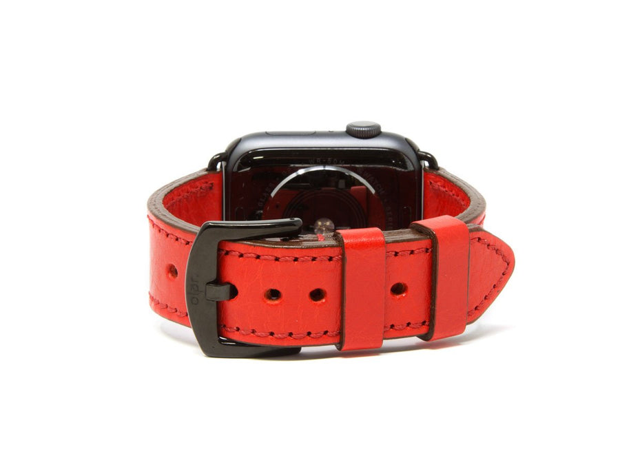 photo of italian leather apple watch band - red