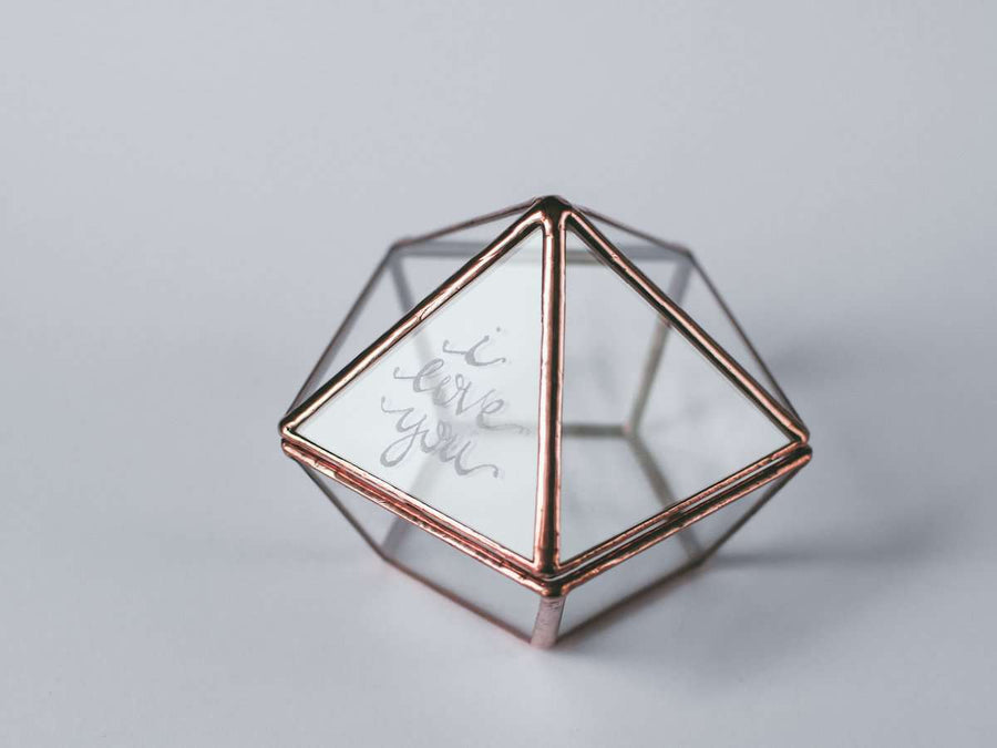 photo of handmade geometric ring box