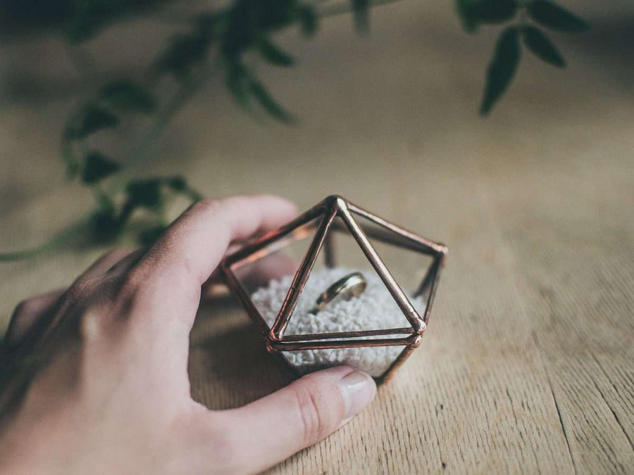photo of handmade geometric mini ring box