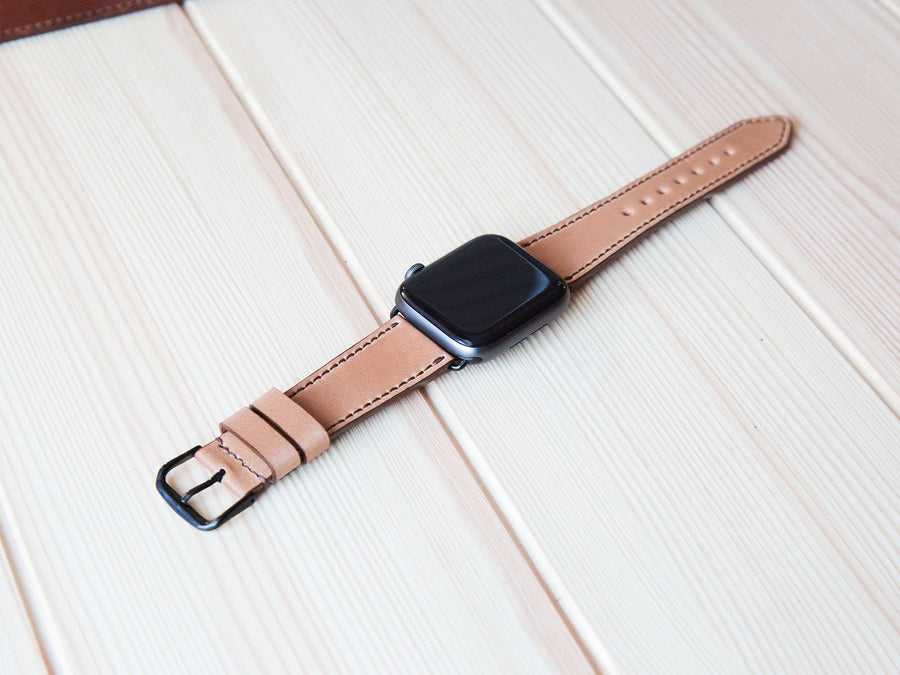 photo of shell cordovan apple watch band - natural