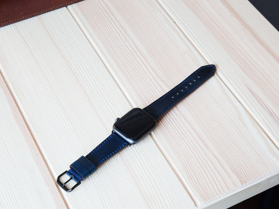 photo of shell cordovan apple watch band - navy