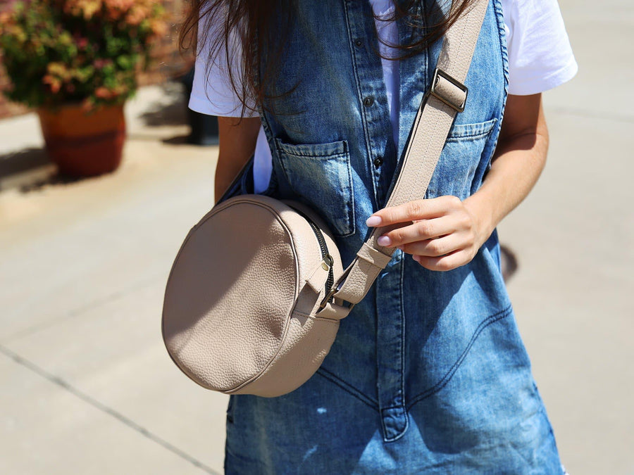 photo of soft leather circle bag - cream