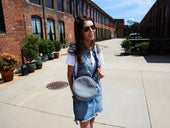 Soft Leather Circle Bag - Grey - olpr.