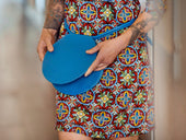 photo of soft leather round bag sphere - blue