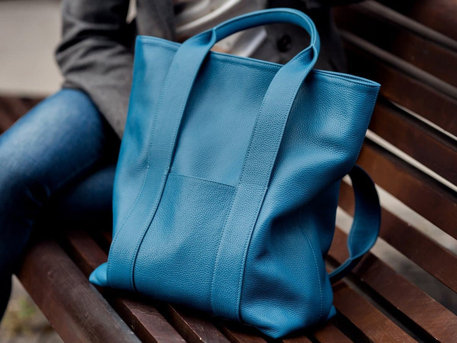image of blue leather urban tote