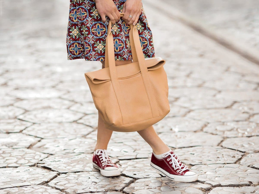 photo of soft leather urban tote bag - wheat