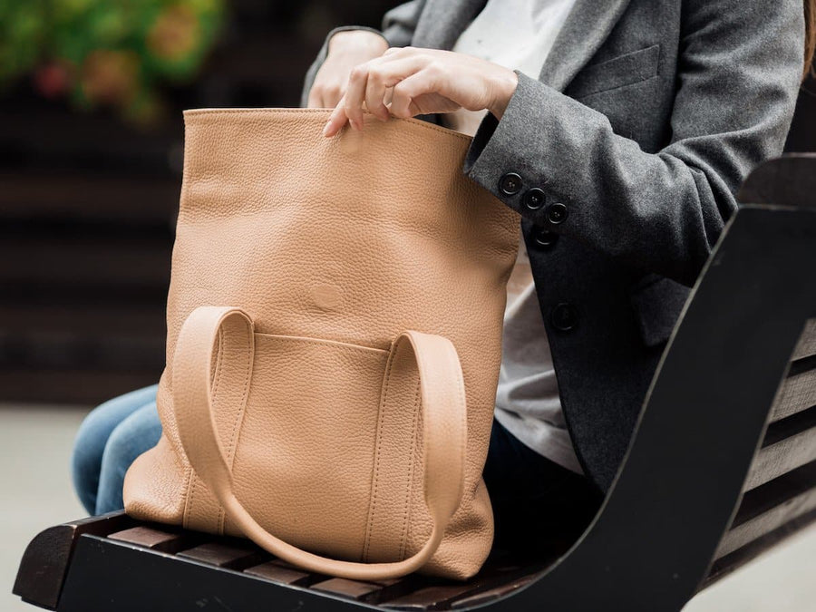 soft wheat leather tote bag image