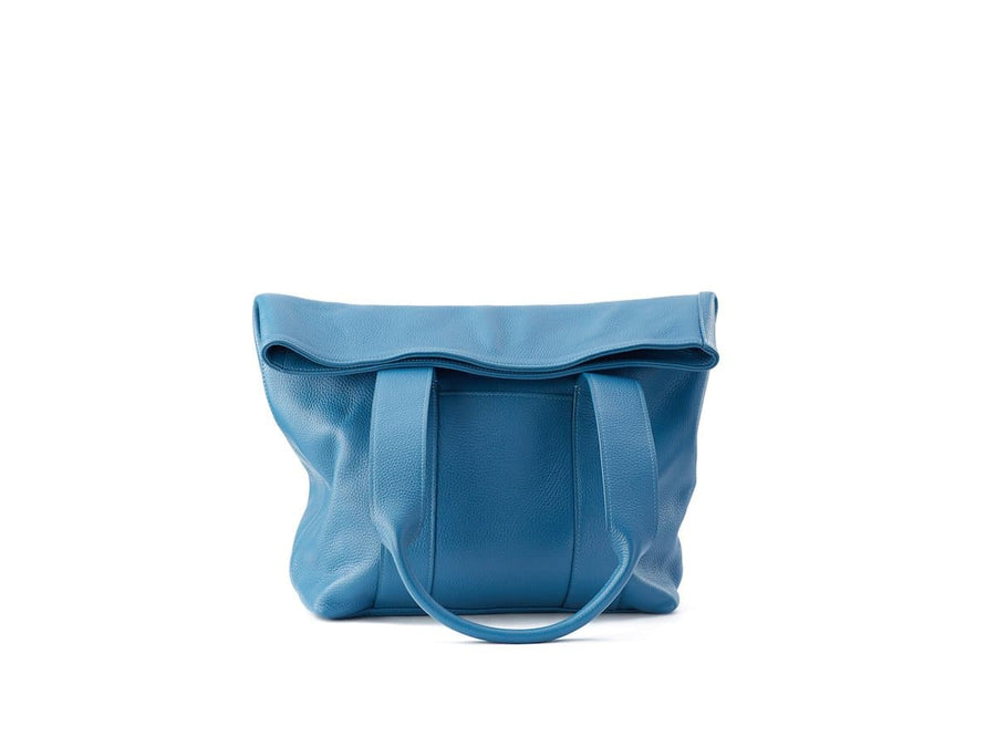 blue leather urban tote image of front side