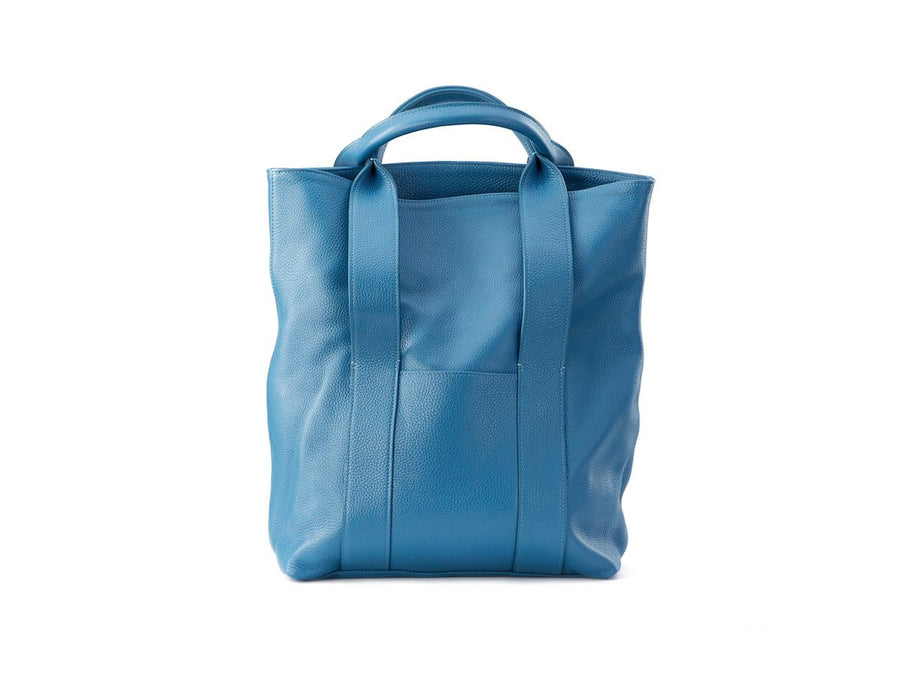 blue leather urban tote bag image