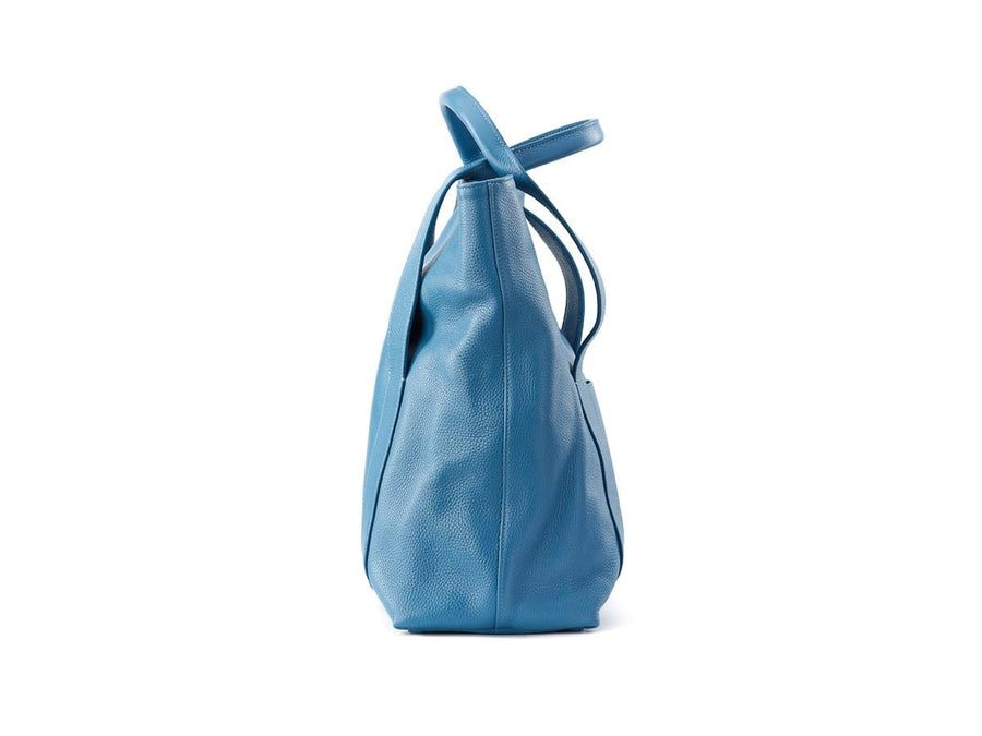 soft blue leather tote bag image