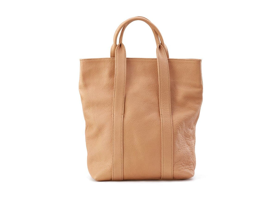 back side of urban tote bag in wheat soft leather