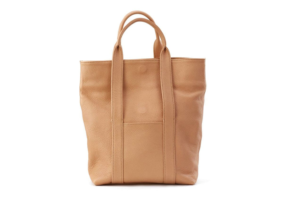 urban tote bag in wheat soft leather folded
