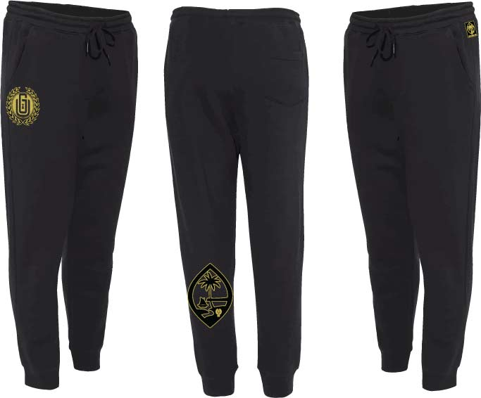 Joggers - Black & Gold Laurel & Guam Seal