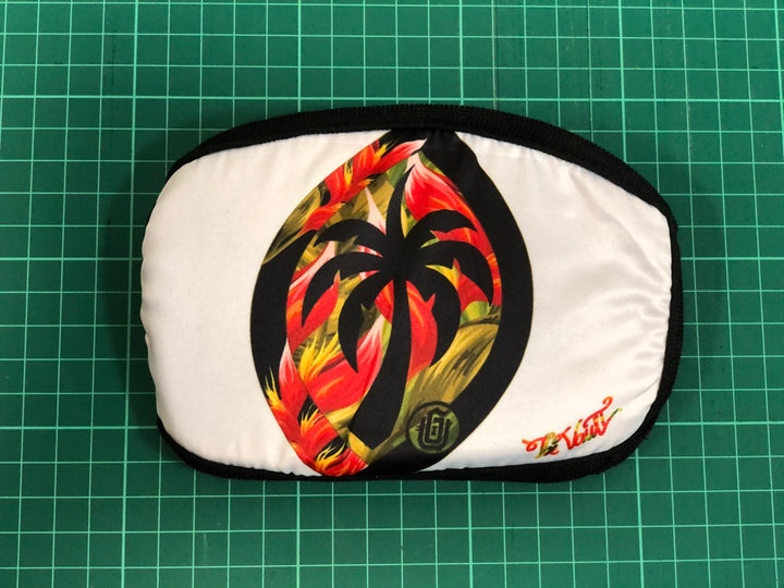 #02 Palm Seal (Bird of Paradise - Red) on White - Poly Cotton Mask