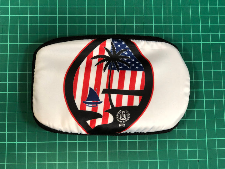 #03 Guam Seal (U.S. Flag) on White - Poly Cotton Mask