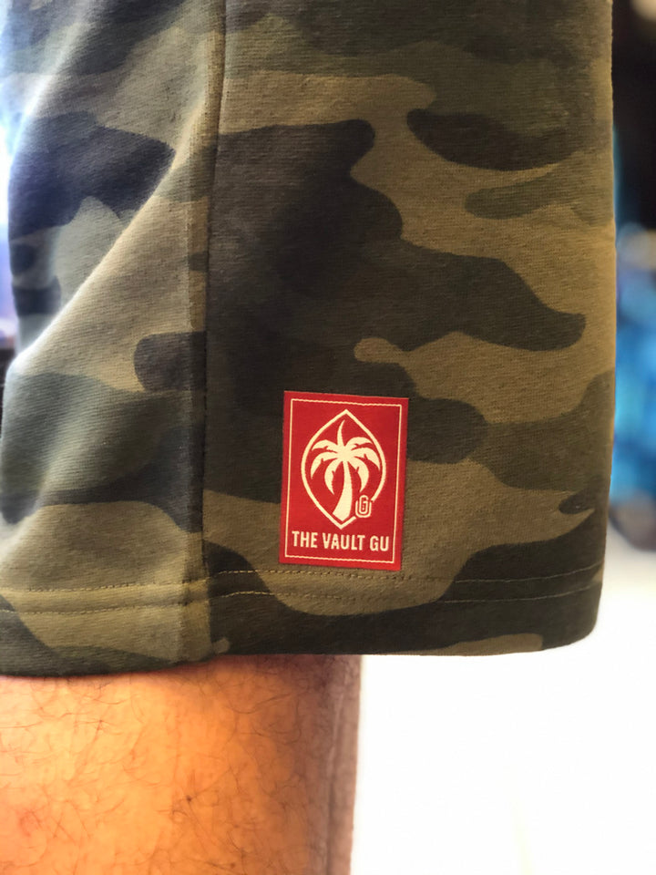 Fleece Shorts - Forest Camo (Red Palm Seal Patch)