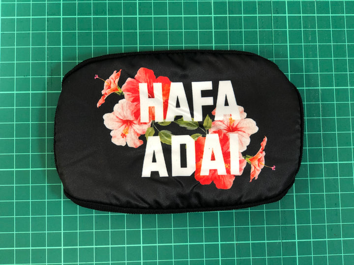 #04 Hafa Adai Hibiscus on Black - Poly Cotton Mask