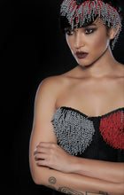 Load image into Gallery viewer, Gray and red beaded corset