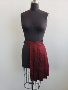 Raw silk kilted over skirt