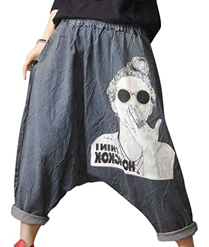 Denim Drop Crotch Cropped Pants