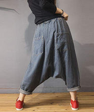 Load image into Gallery viewer, Denim Drop Crotch Cropped Pants