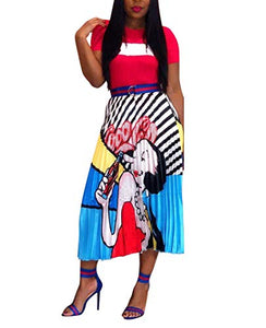 High Waist Graffiti Pleated Skirts